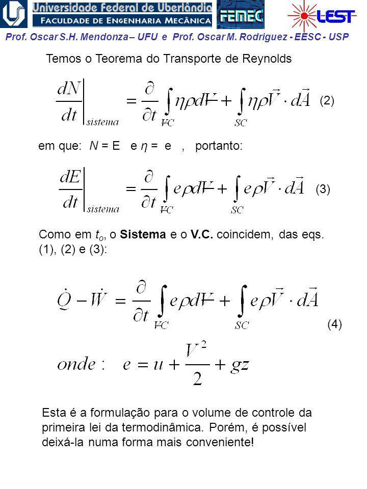 Prof. Oscar S.H. Mendonza – UFU e Prof. Oscar M. Rodriguez - EESC - USP Como em t o, o Sistema e o V.C. coincidem, das eqs. (1), (2) e (3): Temos o Te
