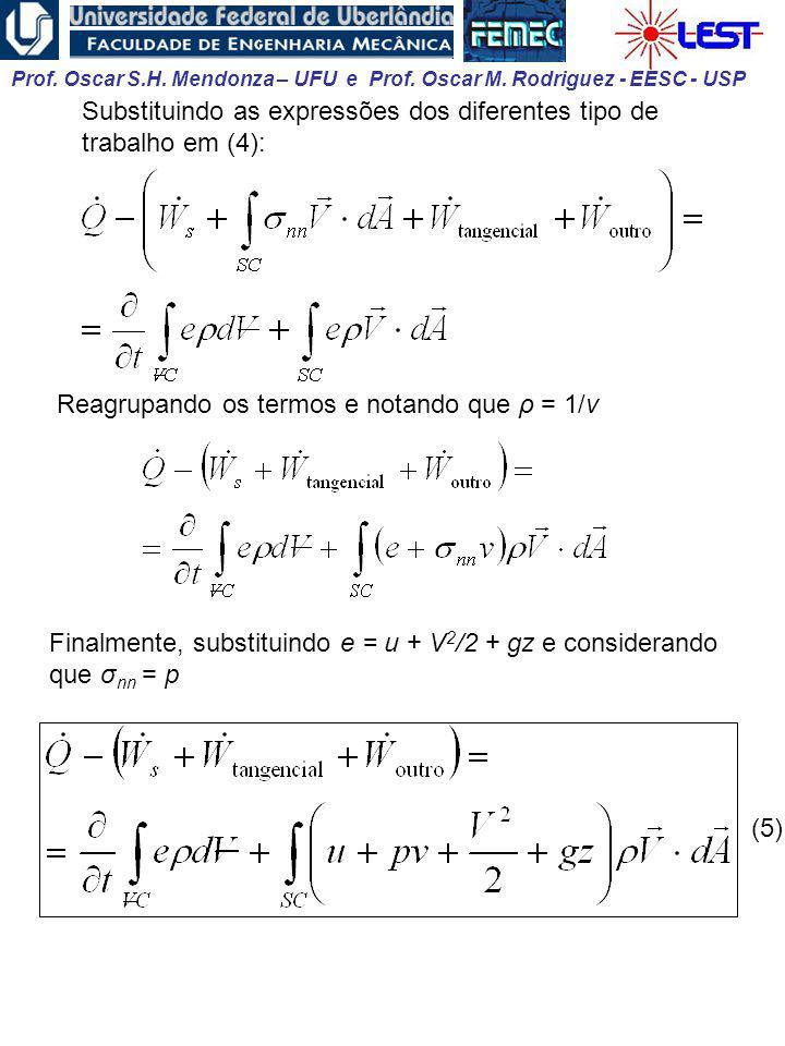 Prof. Oscar S.H. Mendonza – UFU e Prof. Oscar M. Rodriguez - EESC - USP Substituindo as expressões dos diferentes tipo de trabalho em (4): Reagrupando