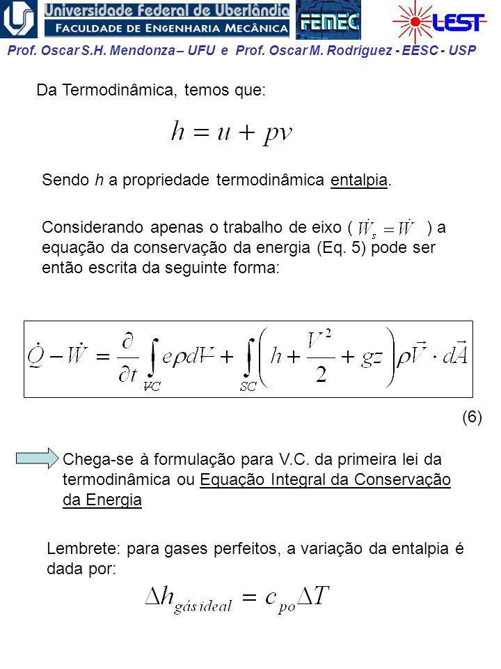 Prof. Oscar S.H. Mendonza – UFU e Prof. Oscar M. Rodriguez - EESC - USP Da Termodinâmica, temos que: Sendo h a propriedade termodinâmica entalpia. Con