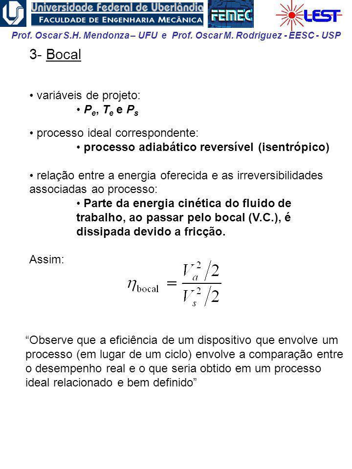 Prof. Oscar S.H. Mendonza – UFU e Prof. Oscar M. Rodriguez - EESC - USP 3- Bocal variáveis de projeto: P e, T e e P s processo ideal correspondente: p