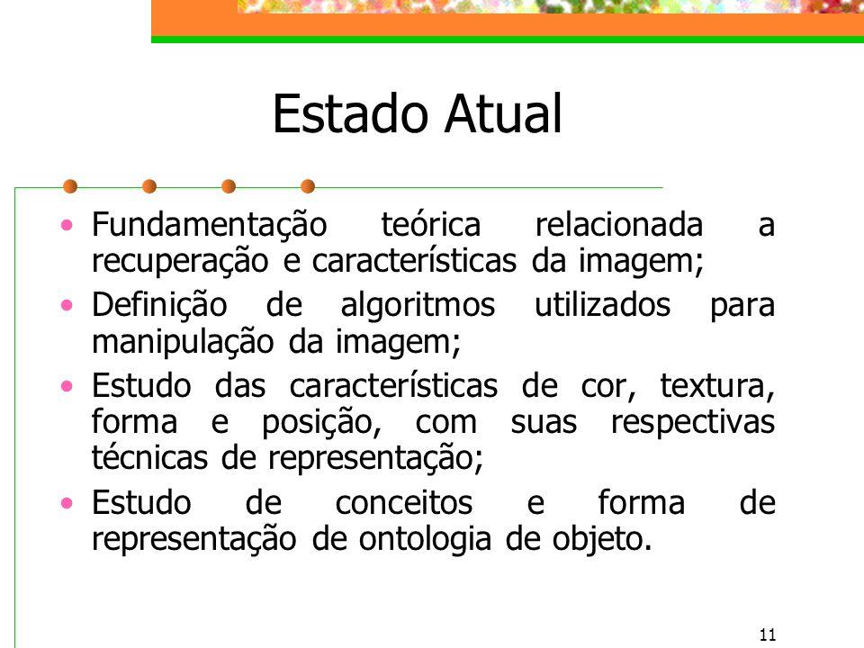 11 Estado Atual Fundamentação teórica relacionada a recuperação e características da imagem; Definição de algoritmos utilizados para manipulação da imagem; Estudo das características de cor, textura, forma e posição, com suas respectivas técnicas de representação; Estudo de conceitos e forma de representação de ontologia de objeto.