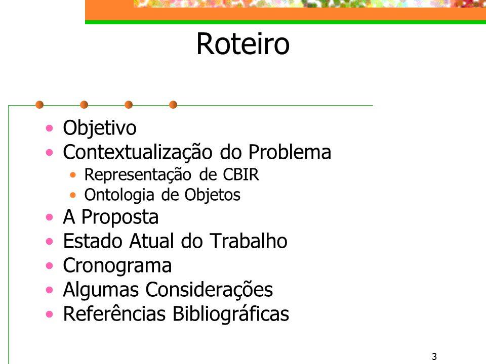 3 Roteiro Objetivo Contextualização do Problema Representação de CBIR Ontologia de Objetos A Proposta Estado Atual do Trabalho Cronograma Algumas Considerações Referências Bibliográficas