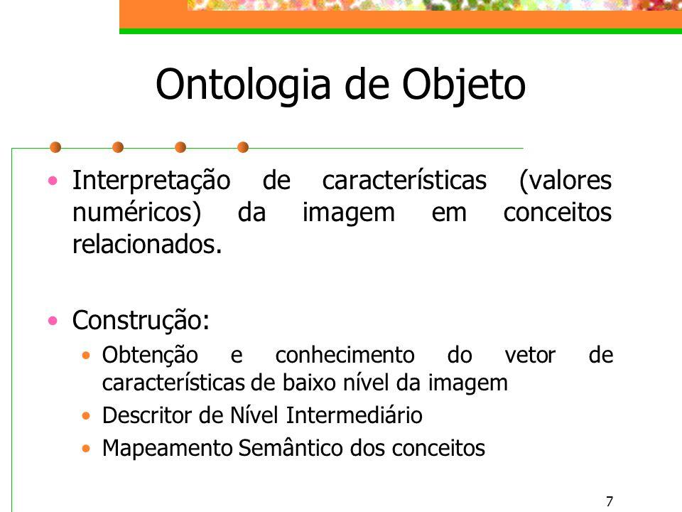 7 Ontologia de Objeto Interpretação de características (valores numéricos) da imagem em conceitos relacionados.