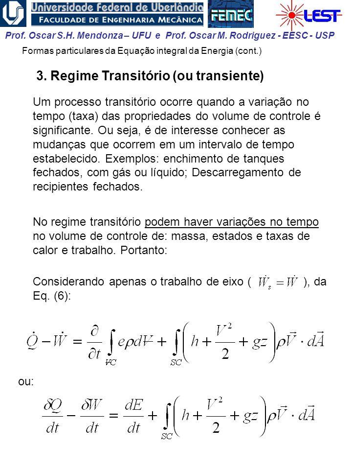 Prof. Oscar S.H. Mendonza – UFU e Prof. Oscar M. Rodriguez - EESC - USP 3. Regime Transitório (ou transiente) Um processo transitório ocorre quando a