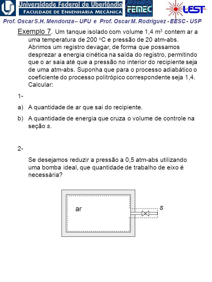 Prof. Oscar S.H. Mendonza – UFU e Prof. Oscar M. Rodriguez - EESC - USP Exemplo 7. Um tanque isolado com volume 1,4 m 3 contem ar a uma temperatura de