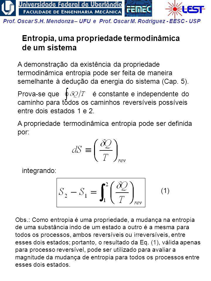 Prof. Oscar S.H. Mendonza – UFU e Prof. Oscar M. Rodriguez - EESC - USP Entropia, uma propriedade termodinâmica de um sistema A demonstração da existê