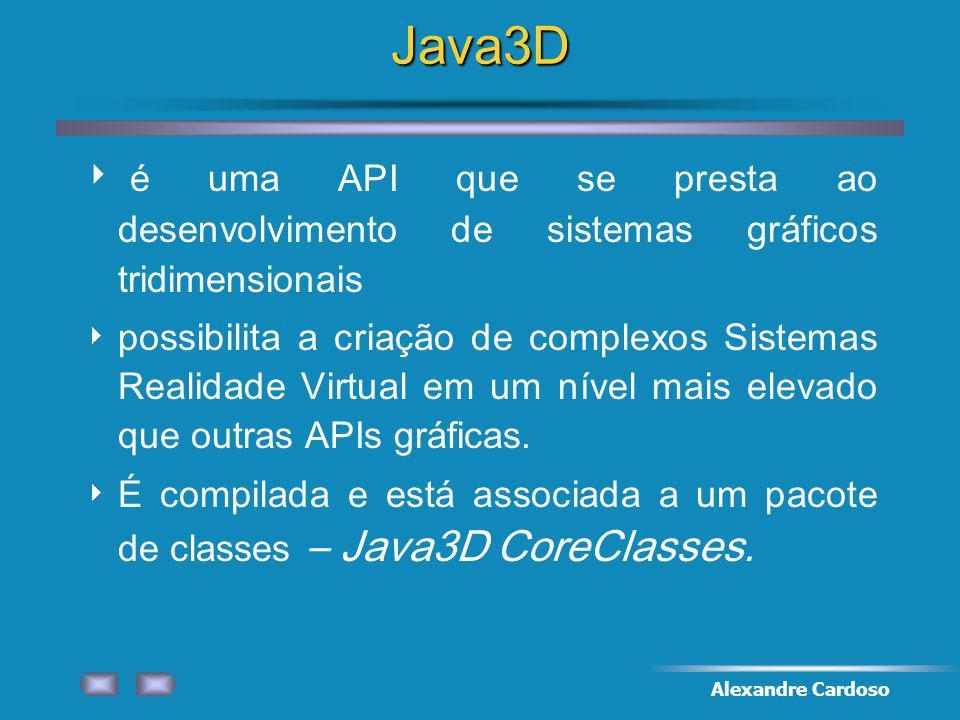 Alexandre CardosoJava3D é uma API que se presta ao desenvolvimento de sistemas gráficos tridimensionais possibilita a criação de complexos Sistemas Realidade Virtual em um nível mais elevado que outras APIs gráficas.
