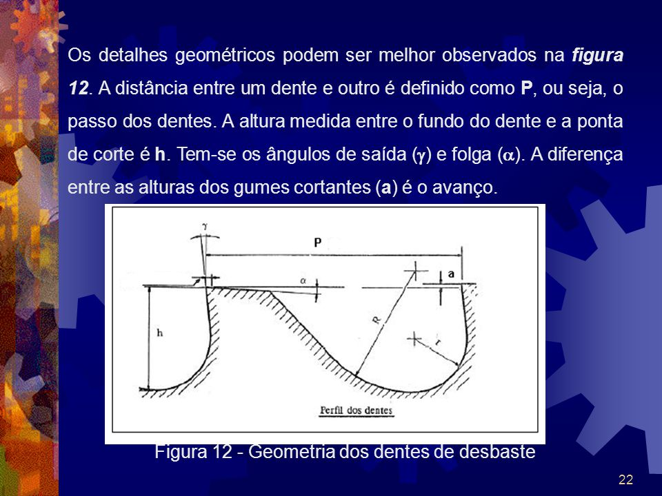 22 Os detalhes geométricos podem ser melhor observados na figura 12. A distância entre um dente e outro é definido como P, ou seja, o passo dos dentes