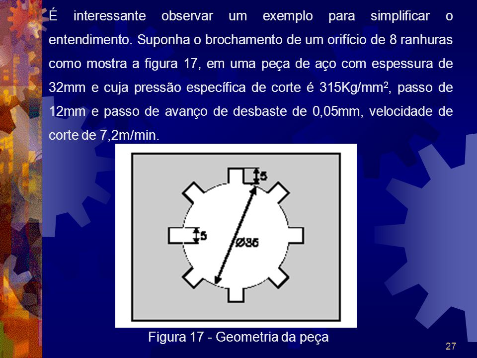 28 Cálculo do número de dentes em corte simultâneo (n): n=L/p=32/12=2.667 n=3 [dentes] Cálculo da área de material a ser removido (A): A=8x5x0,05 A=2[mm 2 ] Cálculo da força máxima F máx : F max =2x315x3 F max =1890[Kg] Cálculo das forças no início do brochamento: No início da operação, antes de entrar em regime, teremos apenas 1 dente com a peça.