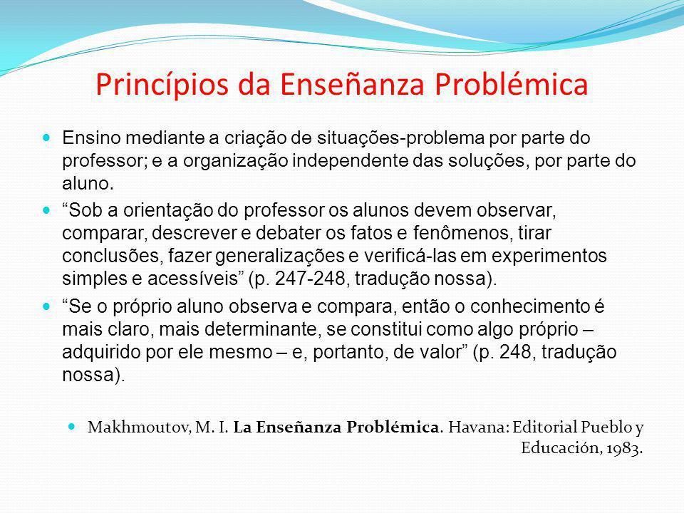 Princípios da Enseñanza Problémica Ensino mediante a criação de situações-problema por parte do professor; e a organização independente das soluções,