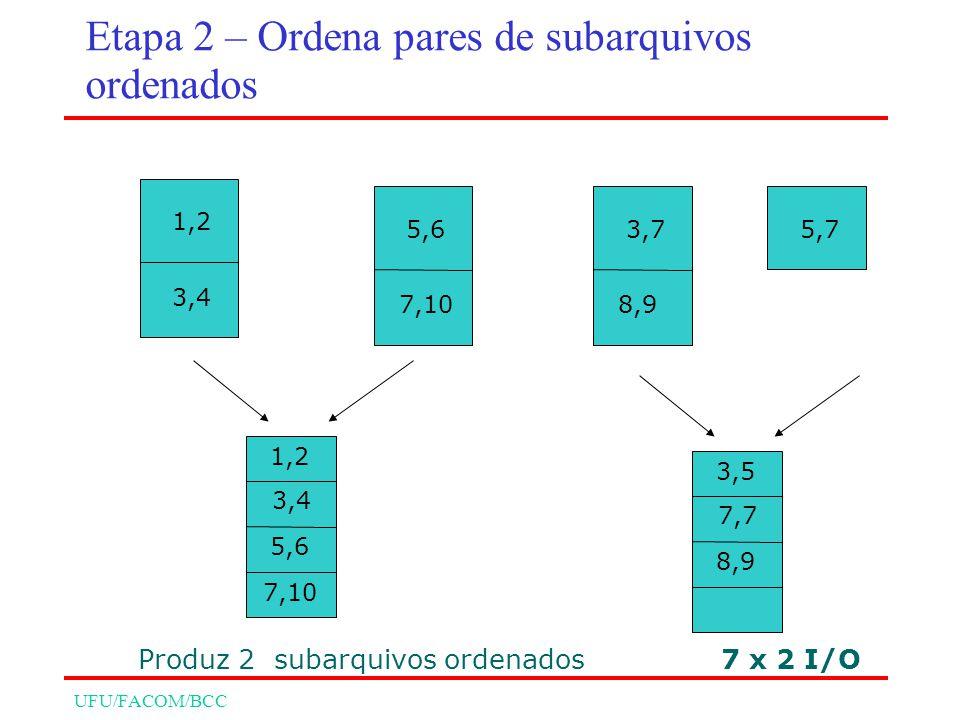 UFU/FACOM/BCC 1,2 3,4 5,63,7 8,9 5,7 7 x 2 I/O 1,2 3,4 5,6 7,10 3,5 7,7 8,9 7,10 Produz 2 subarquivos ordenados Etapa 2 – Ordena pares de subarquivos