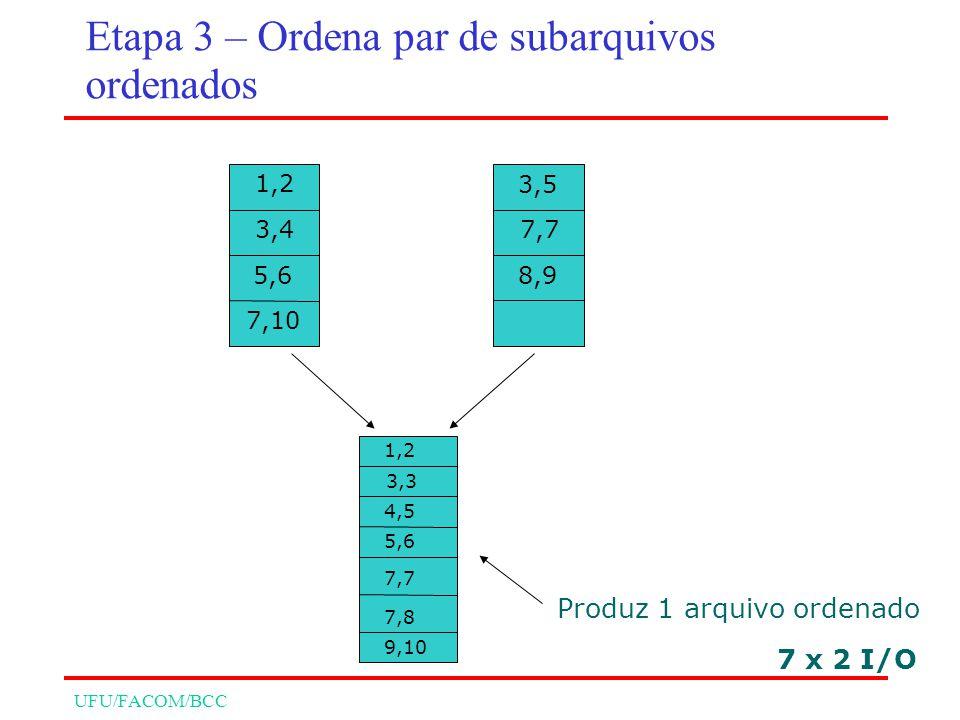UFU/FACOM/BCC 7 x 2 I/O 1,2 3,4 5,6 7,10 3,5 7,7 8,9 1,2 3,3 4,5 5,6 7,7 7,8 9,10 Produz 1 arquivo ordenado Etapa 3 – Ordena par de subarquivos ordenados