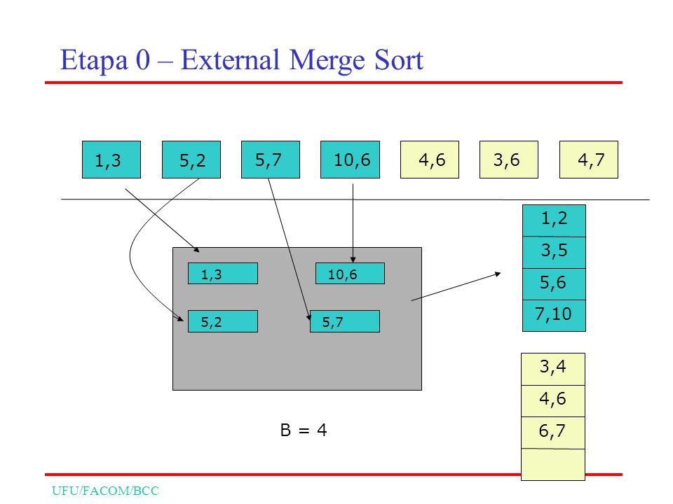 UFU/FACOM/BCC 1,35,2 5,710,64,63,64,7 1,3 5,2 10,6 B = 4 5,7 1,2 3,5 5,6 7,10 3,4 4,6 6,7 Etapa 0 – External Merge Sort
