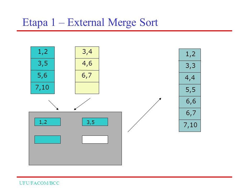UFU/FACOM/BCC 1,2 3,5 1,2 3,3 4,4 5,5 6,6 6,7 7,10 1,2 3,5 5,6 7,10 3,4 4,6 6,7 Etapa 1 – External Merge Sort