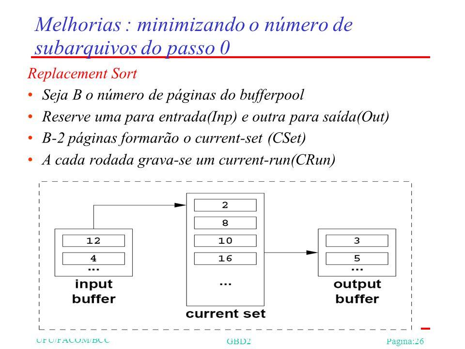 UFU/FACOM/BCC GBD2Página:26 Melhorias : minimizando o número de subarquivos do passo 0 Replacement Sort Seja B o número de páginas do bufferpool Reserve uma para entrada(Inp) e outra para saída(Out) B-2 páginas formarão o current-set (CSet) A cada rodada grava-se um current-run(CRun)