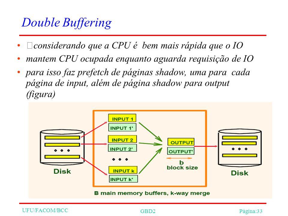 UFU/FACOM/BCC GBD2Página:33 Double Buffering considerando que a CPU é bem mais rápida que o IO mantem CPU ocupada enquanto aguarda requisição de IO para isso faz prefetch de páginas shadow, uma para cada página de input, além de página shadow para output (figura)