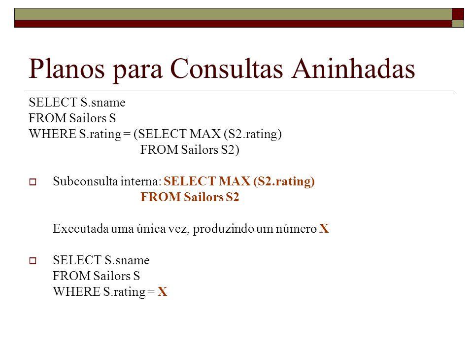 Planos para Consultas Aninhadas SELECT S.sname FROM Sailors S WHERE S.rating = (SELECT MAX (S2.rating) FROM Sailors S2) Subconsulta interna: SELECT MA