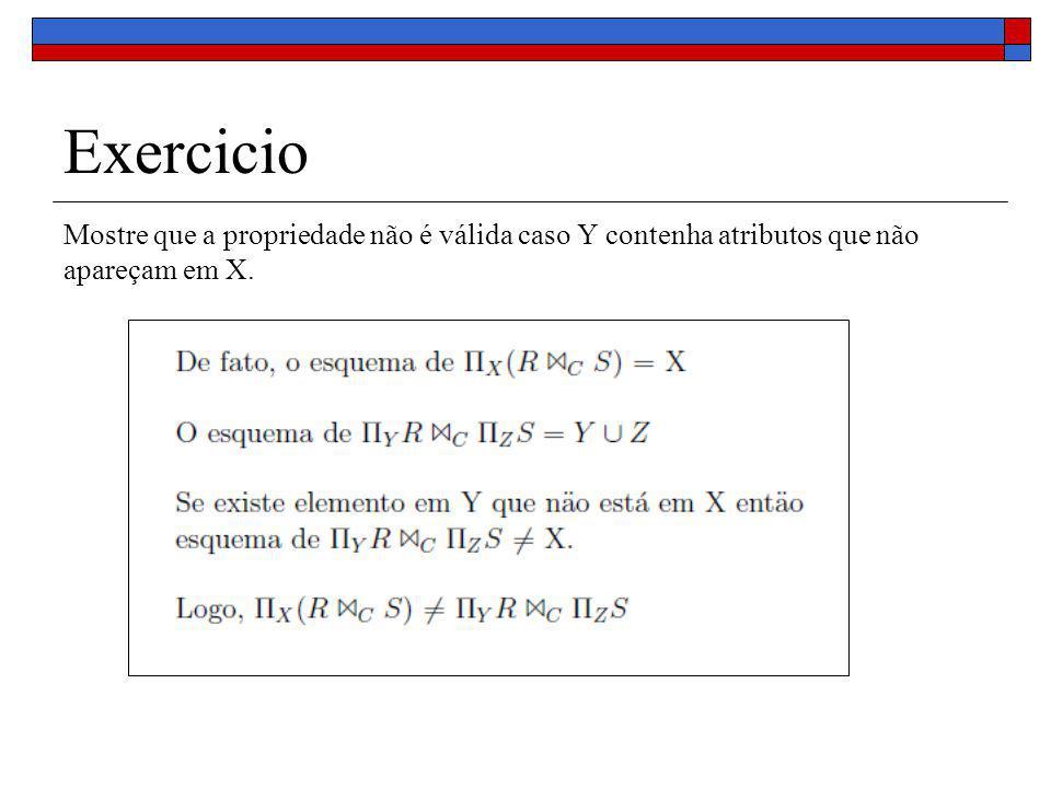 Exercicio Mostre que a propriedade não é válida caso Y contenha atributos que não apareçam em X.