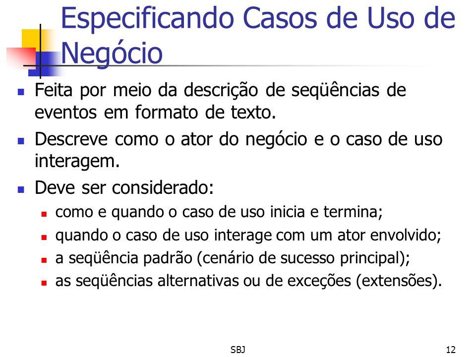 Especificando Casos de Uso de Negócio Feita por meio da descrição de seqüências de eventos em formato de texto. Descreve como o ator do negócio e o ca