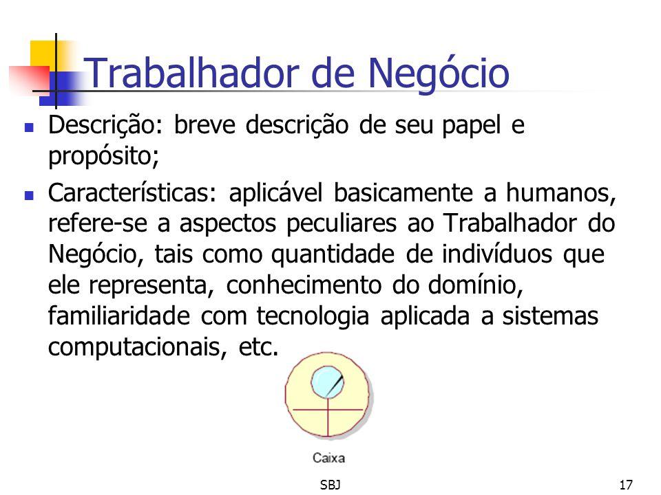 Trabalhador de Negócio Descrição: breve descrição de seu papel e propósito; Características: aplicável basicamente a humanos, refere-se a aspectos pec