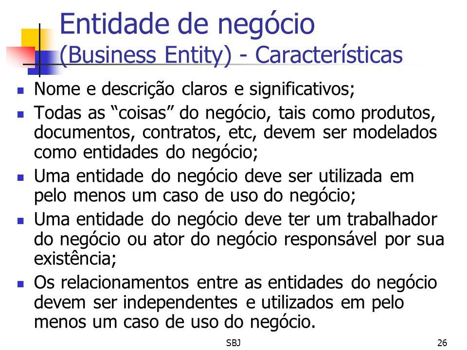Entidade de negócio (Business Entity) - Características Nome e descrição claros e significativos; Todas as coisas do negócio, tais como produtos, docu