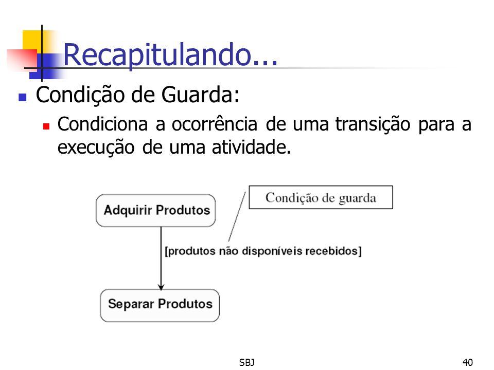 Recapitulando... Condição de Guarda: Condiciona a ocorrência de uma transição para a execução de uma atividade. 40SBJ