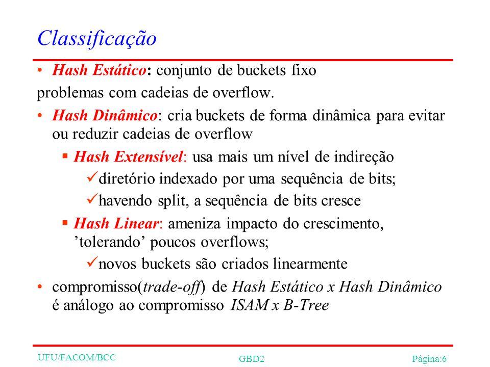 UFU/FACOM/BCC GBD2Página:6 Classificação Hash Estático: conjunto de buckets fixo problemas com cadeias de overflow.