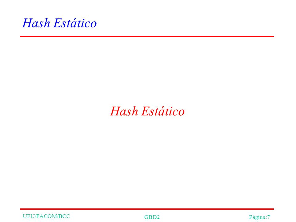 UFU/FACOM/BCC Parâmetros e Contadores Nivel = indica a rodada atual, a função de hash atual Inicializado com 0 Next = bucket que deve ser dividido, se necessário Inicializado com 0 N m = número de buckets na rodada m N 0 = N N m = N*2 m Somente o bucket com número Next é dividido.