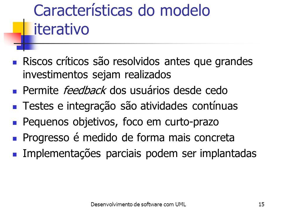 Desenvolvimento de software com UML15 Características do modelo iterativo Riscos críticos são resolvidos antes que grandes investimentos sejam realiza