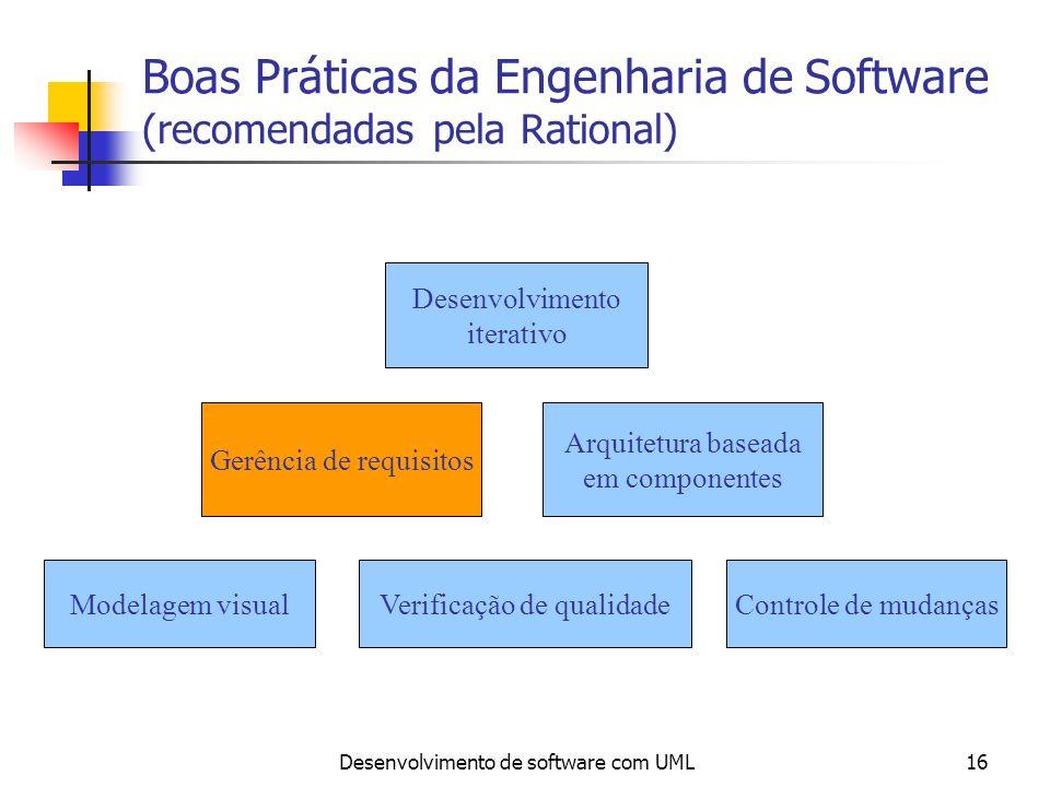 Desenvolvimento de software com UML16 Boas Práticas da Engenharia de Software (recomendadas pela Rational) Gerência de requisitos Arquitetura baseada