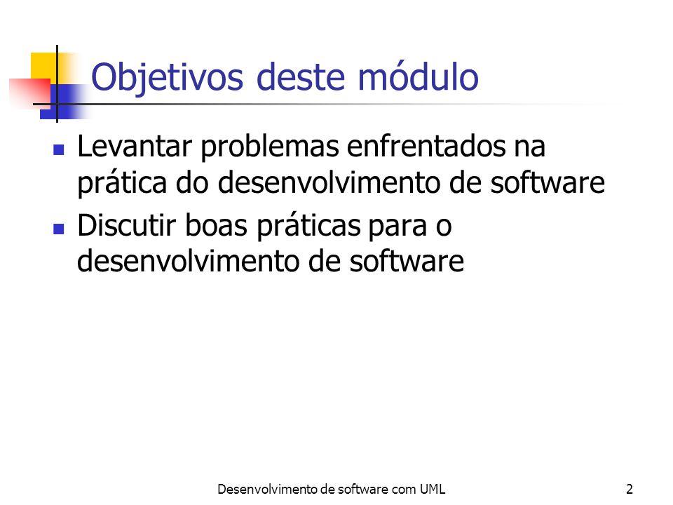 Desenvolvimento de software com UML3 Realidade de hoje Grande demanda para desenvolvimento de aplicações não triviais Rápida evolução tecnológica Tempo de desenvolvimento deve ser curto Falta de tempo para amadurecimento dos profissionais Equipes grandes
