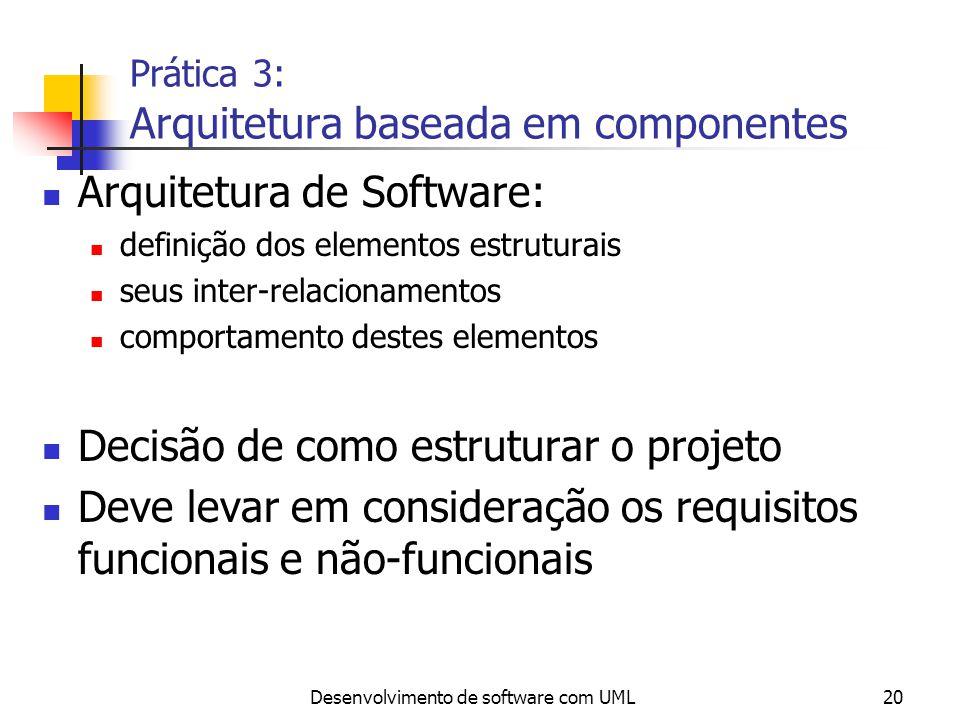 Desenvolvimento de software com UML21 Prática 3: Arquitetura baseada em componentes Uma boa arquitetura deve ser: flexível (facilitando manutenibilidade e extensibilidade) baseada em componentes módulos devem ser independentes componentes devem ser reutilizados