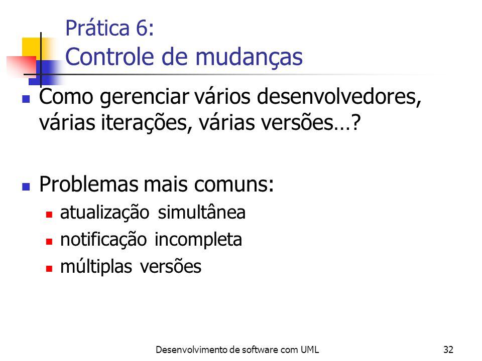 Desenvolvimento de software com UML32 Prática 6: Controle de mudanças Como gerenciar vários desenvolvedores, várias iterações, várias versões…? Proble