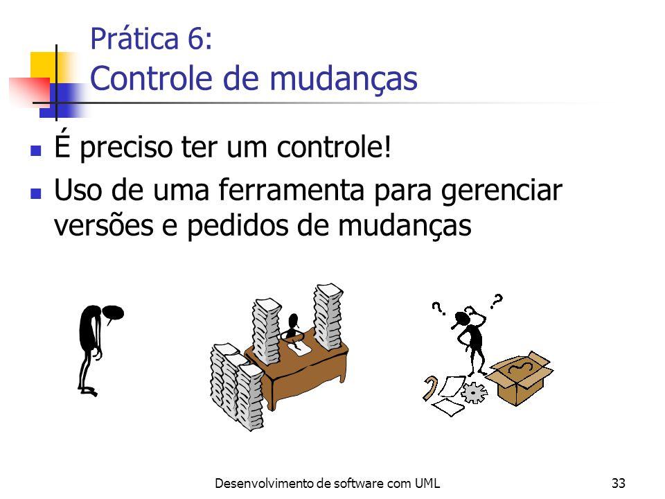 Desenvolvimento de software com UML33 Prática 6: Controle de mudanças É preciso ter um controle! Uso de uma ferramenta para gerenciar versões e pedido