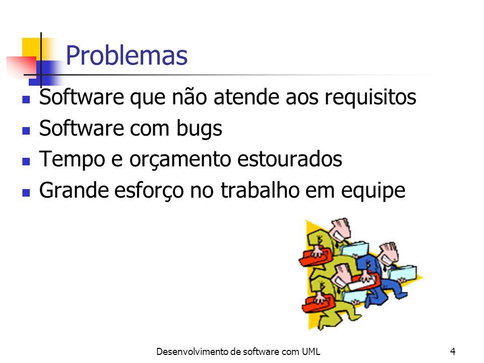 Desenvolvimento de software com UML4 Problemas Software que não atende aos requisitos Software com bugs Tempo e orçamento estourados Grande esforço no