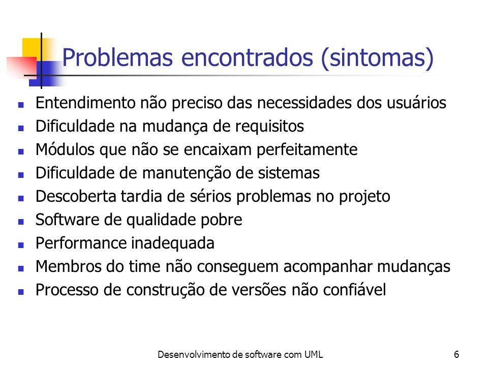 Desenvolvimento de software com UML6 Problemas encontrados (sintomas) Entendimento não preciso das necessidades dos usuários Dificuldade na mudança de