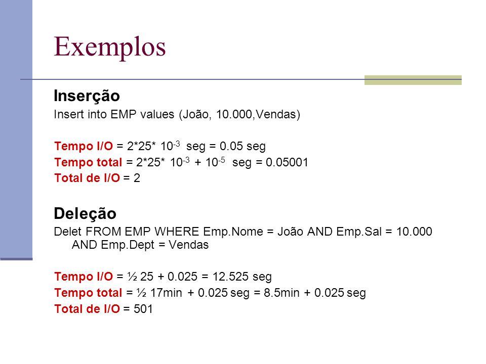 Exemplos Inserção Insert into EMP values (João, 10.000,Vendas) Tempo I/O = 2*25* 10 -3 seg = 0.05 seg Tempo total = 2*25* 10 -3 + 10 -5 seg = 0.05001 Total de I/O = 2 Deleção Delet FROM EMP WHERE Emp.Nome = João AND Emp.Sal = 10.000 AND Emp.Dept = Vendas Tempo I/O = ½ 25 + 0.025 = 12.525 seg Tempo total = ½ 17min + 0.025 seg = 8.5min + 0.025 seg Total de I/O = 501