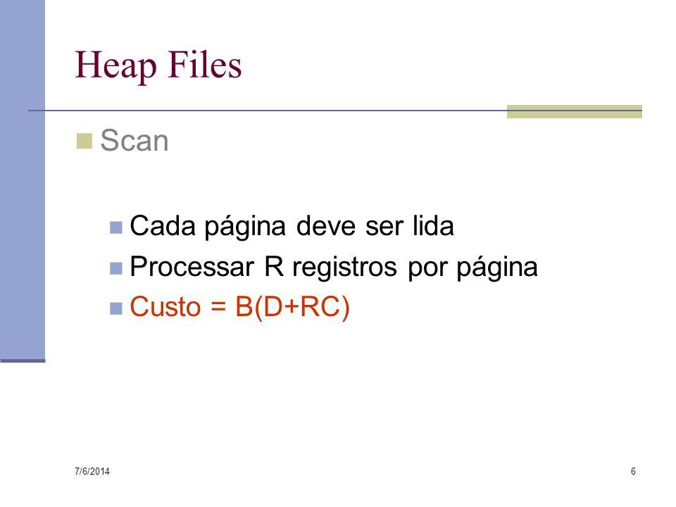 7/6/2014 6 Heap Files Scan Cada página deve ser lida Processar R registros por página Custo = B(D+RC)