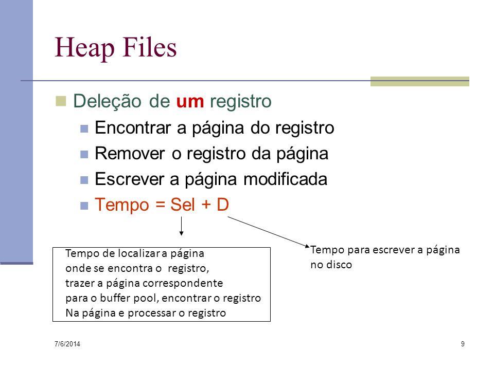 7/6/2014 9 Heap Files Deleção de um registro Encontrar a página do registro Remover o registro da página Escrever a página modificada Tempo = Sel + D Tempo de localizar a página onde se encontra o registro, trazer a página correspondente para o buffer pool, encontrar o registro Na página e processar o registro Tempo para escrever a página no disco