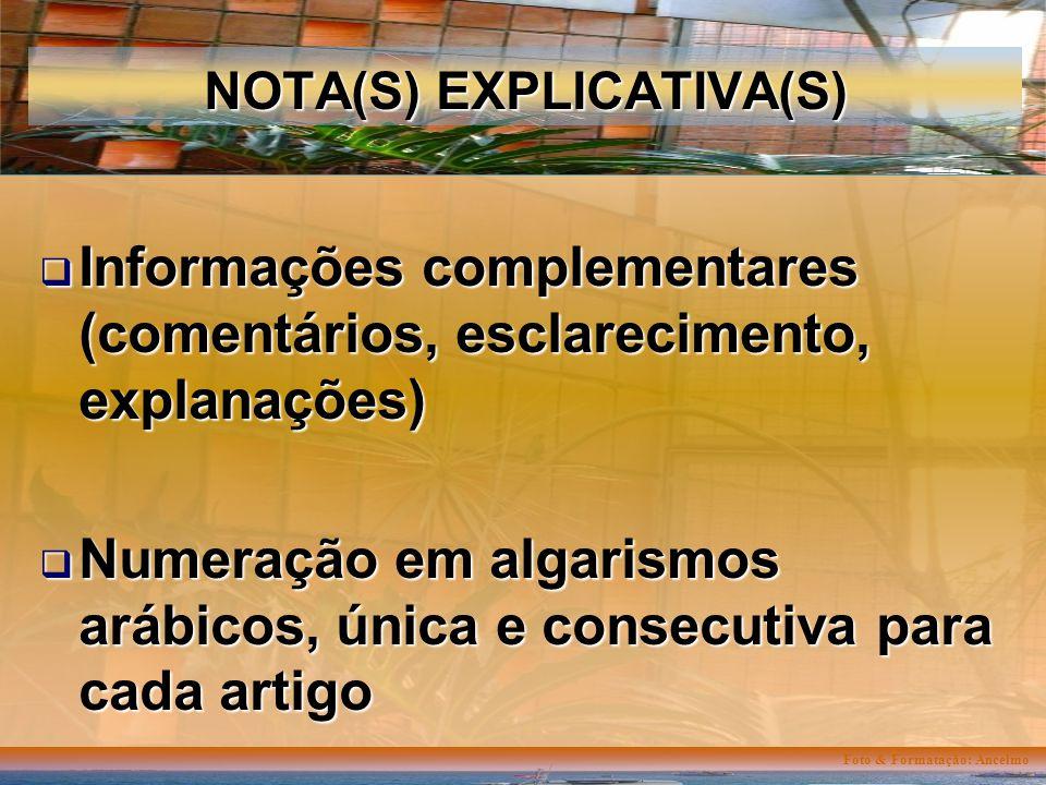 Foto & Formatação: Ancelmo NOTA(S) EXPLICATIVA(S) Informações complementares (comentários, esclarecimento, explanações) Informações complementares (comentários, esclarecimento, explanações) Numeração em algarismos arábicos, única e consecutiva para cada artigo Numeração em algarismos arábicos, única e consecutiva para cada artigo