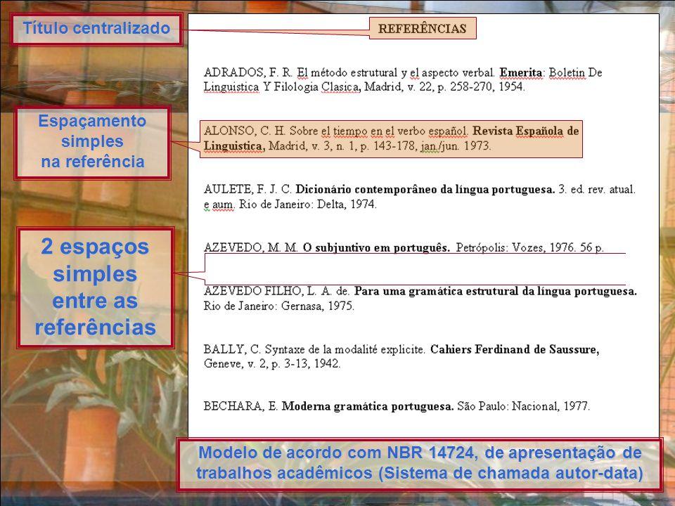 Foto & Formatação: Ancelmo Título centralizado Espaçamento simples na referência 2 espaços simples entre as referências Modelo de acordo com NBR 14724, de apresentação de trabalhos acadêmicos (Sistema de chamada autor-data)