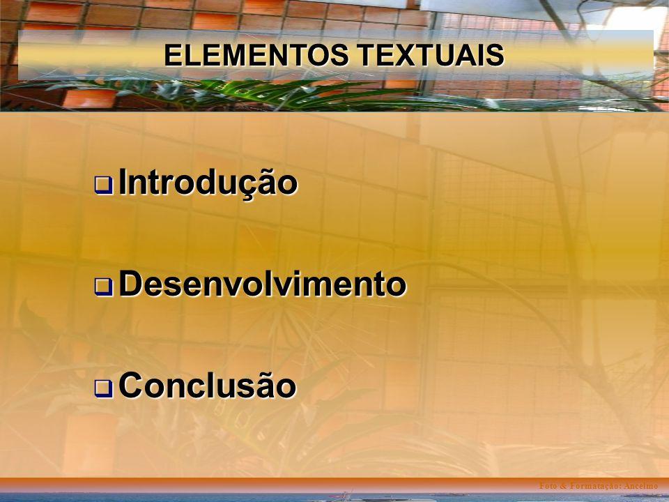 Foto & Formatação: Ancelmo ELEMENTOS TEXTUAIS Introdução Introdução Desenvolvimento Desenvolvimento Conclusão Conclusão
