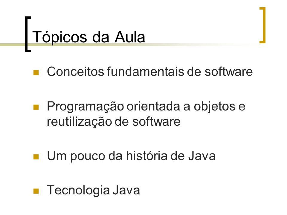 Tópicos da Aula Conceitos fundamentais de software Programação orientada a objetos e reutilização de software Um pouco da história de Java Tecnologia Java