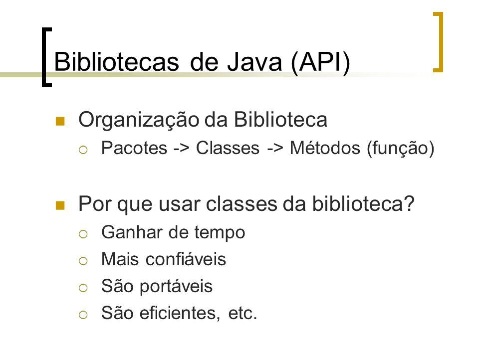 Bibliotecas de Java (API) Organização da Biblioteca Pacotes -> Classes -> Métodos (função) Por que usar classes da biblioteca? Ganhar de tempo Mais co