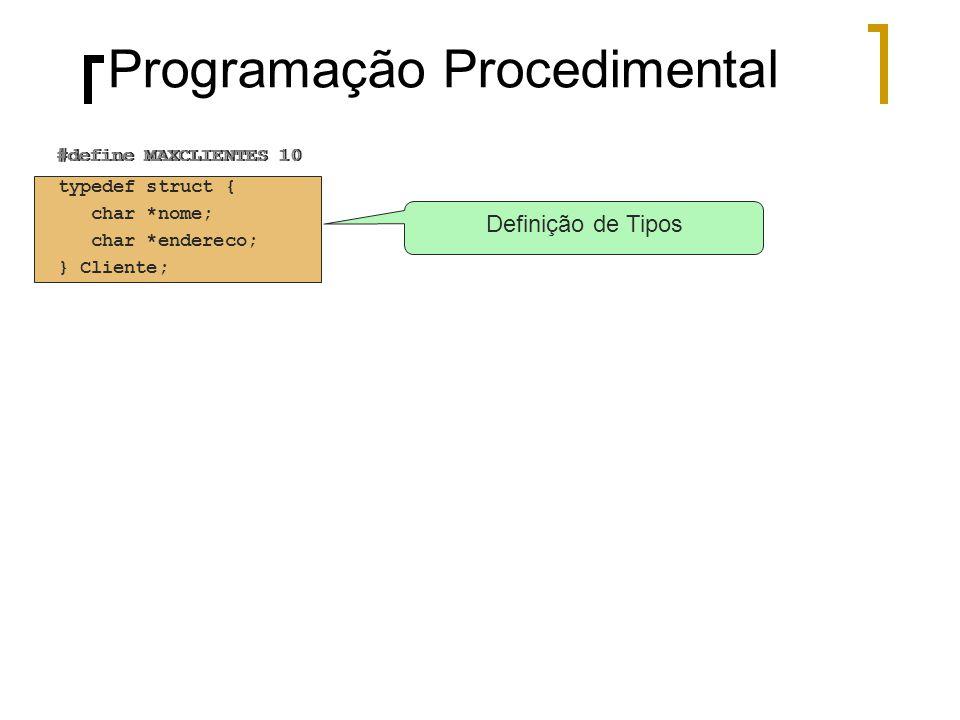 #define MAXCLIENTES 10 Definição de Tipos typedef struct { char *nome; char *endereco; } Cliente; #define MAXCLIENTES 10 Programação Procedimental