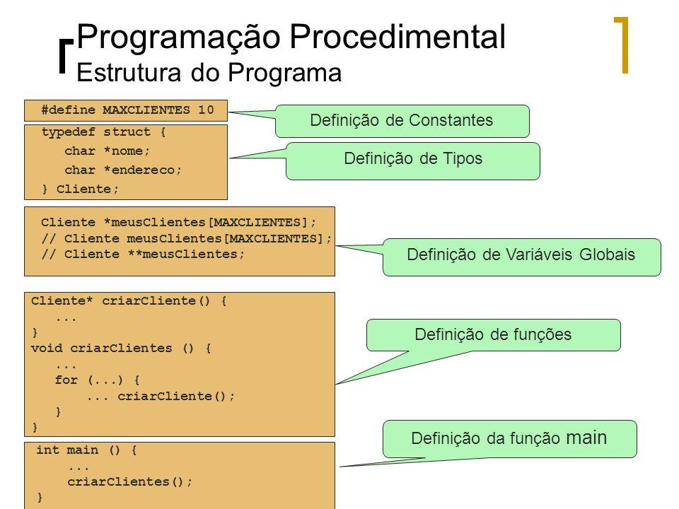 Programação Procedimental Estrutura do Programa #define MAXCLIENTES 10 Cliente *meusClientes[MAXCLIENTES]; // Cliente meusClientes[MAXCLIENTES]; // Cliente **meusClientes; Cliente* criarCliente() {...