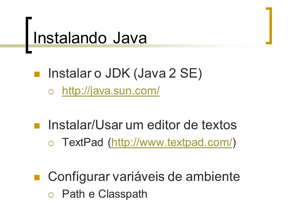 Instalando Java Instalar o JDK (Java 2 SE) http://java.sun.com/ Instalar/Usar um editor de textos TextPad (http://www.textpad.com/)http://www.textpad.com/ Configurar variáveis de ambiente Path e Classpath