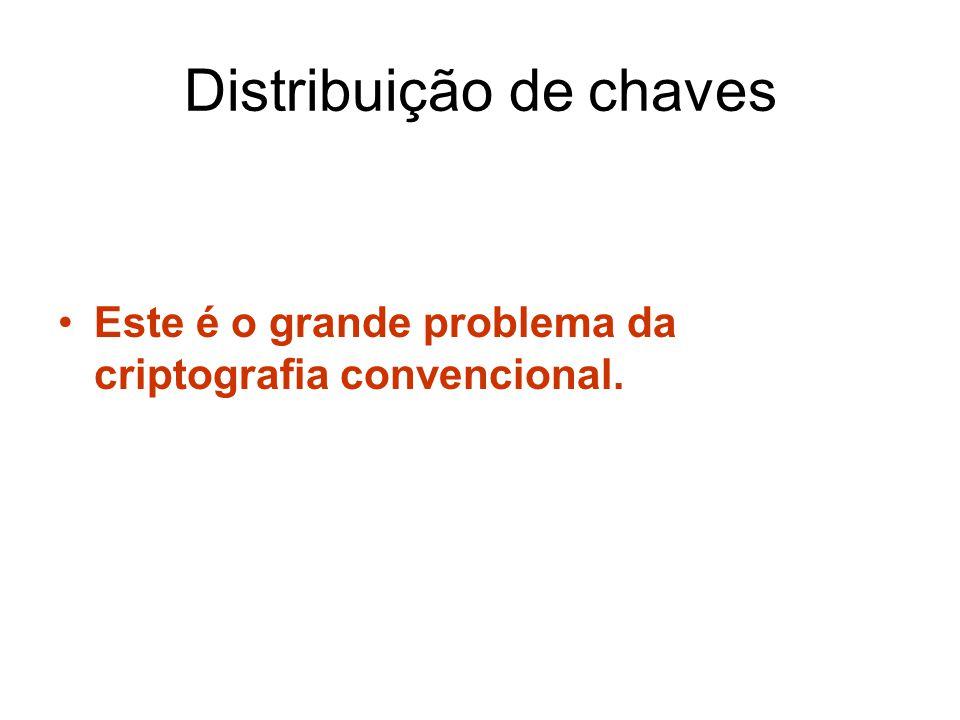 Distribuição de chaves Este é o grande problema da criptografia convencional.