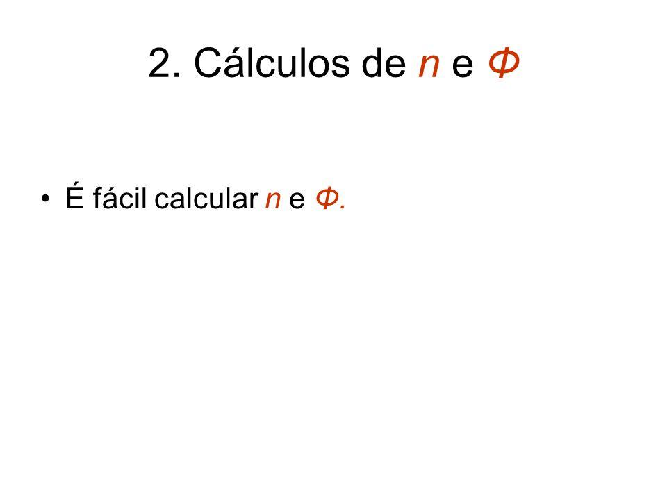 2. Cálculos de n e Φ É fácil calcular n e Φ.