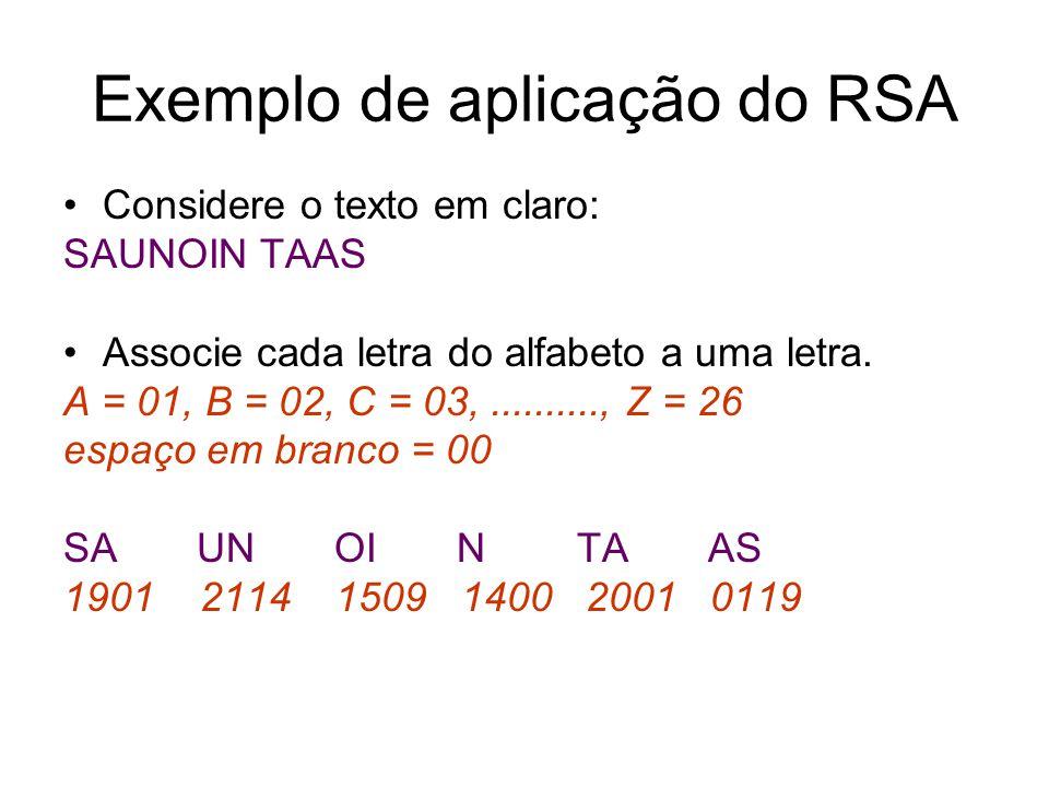 Exemplo de aplicação do RSA Considere o texto em claro: SAUNOIN TAAS Associe cada letra do alfabeto a uma letra. A = 01, B = 02, C = 03,.........., Z